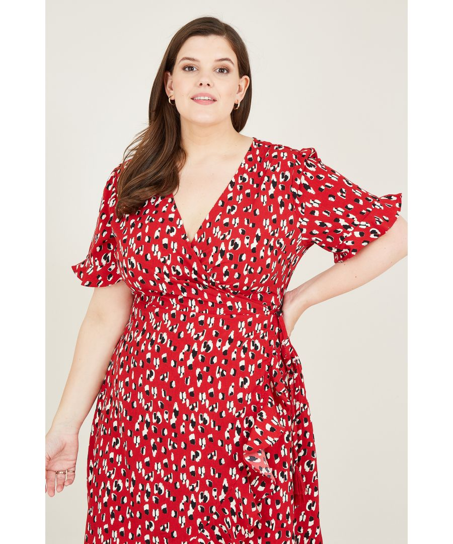 Image for Red Animal Dash Print Wrap Dress