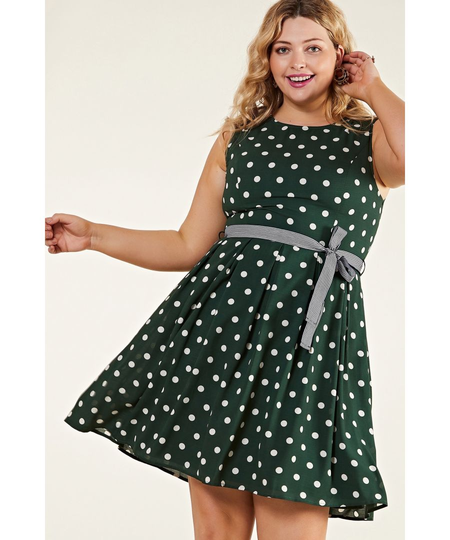 Image for Green Plus Size Spot Print Dress With Contrast Belt