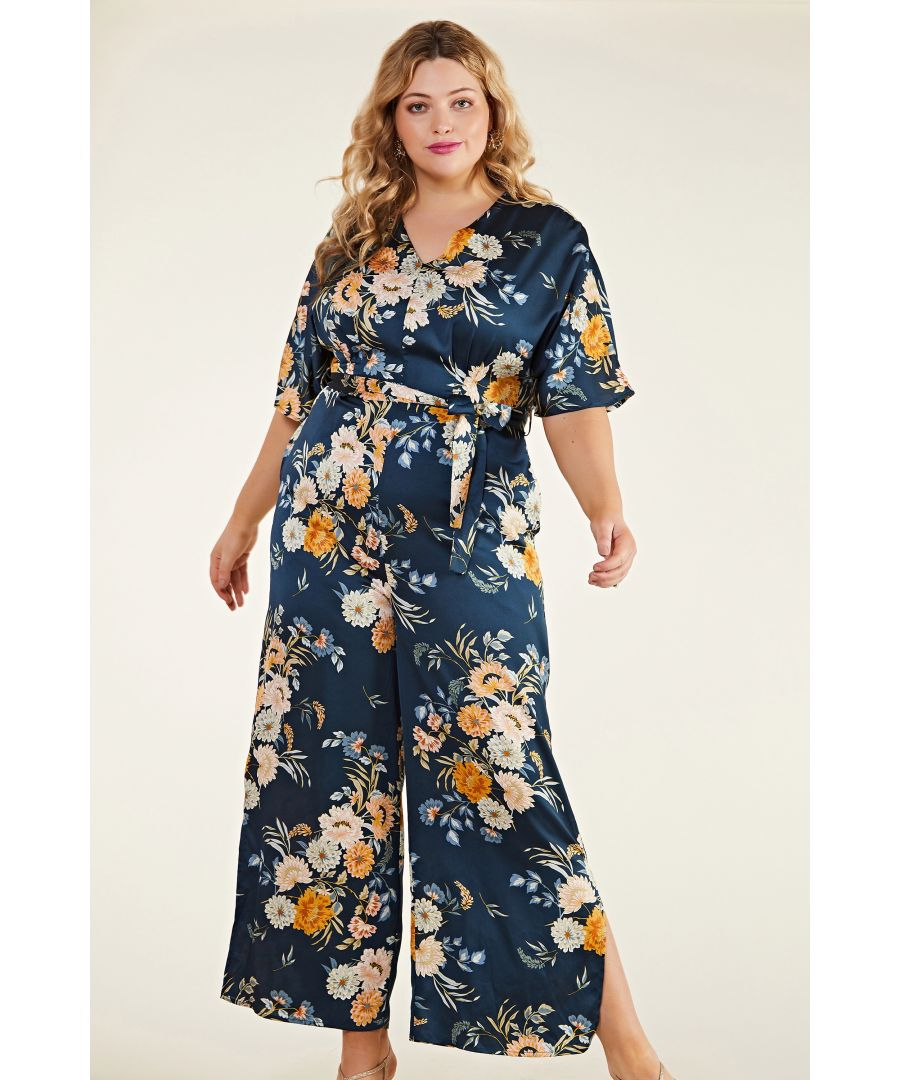 Image for Oriental Print V Neck Jumpsuit