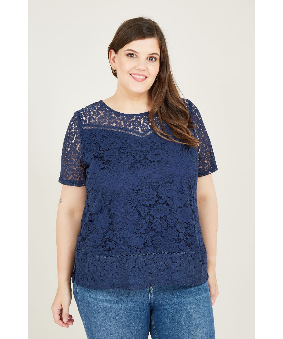 Image for Navy Lace Empire Line Lace Top