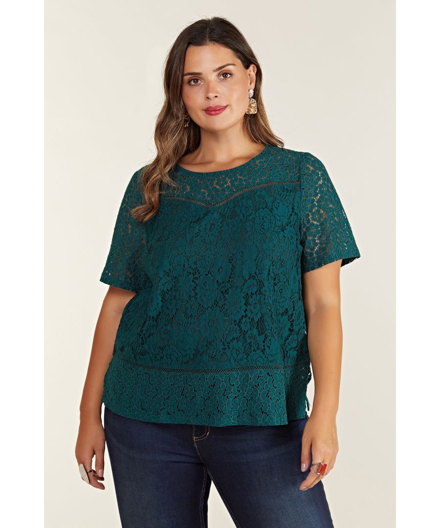 Image for Short Sleeve Lace Top With Contrast Lace