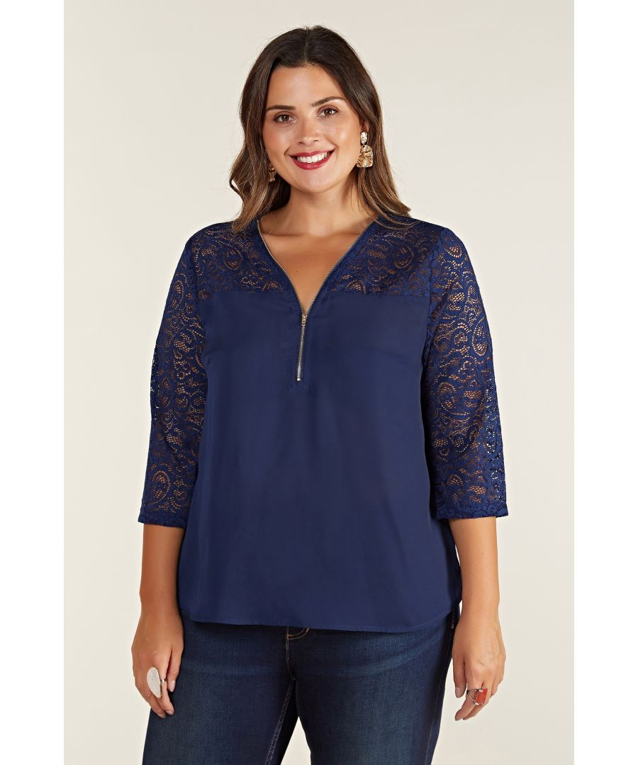 Image for Navy Lace Top With Zip Detail