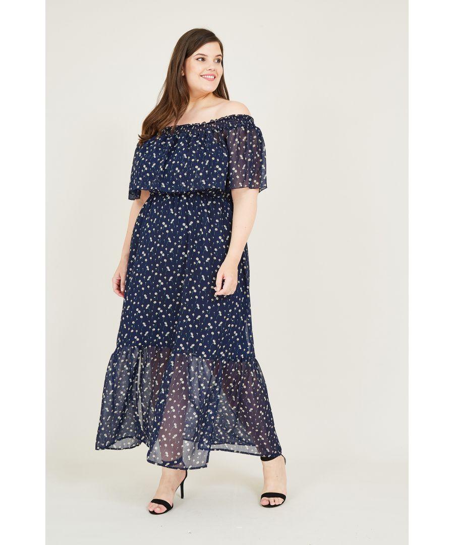 Image for Daisy Print Bardot Frill Maxi Dress