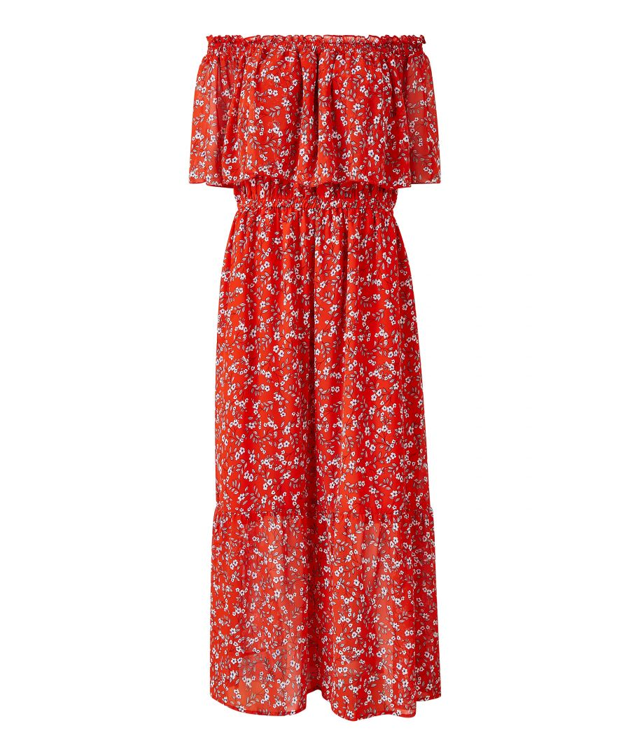 Image for Ditsy Flower Bardot Frill Maxi Dress