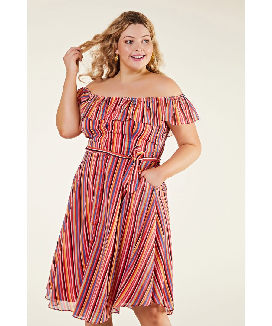 Image for Rainbow Stripe Bardot Frill Button Throu