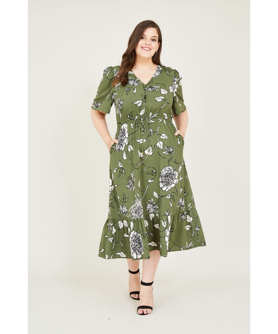 Image for Green Sketchy Rose Midi Dress With Frill