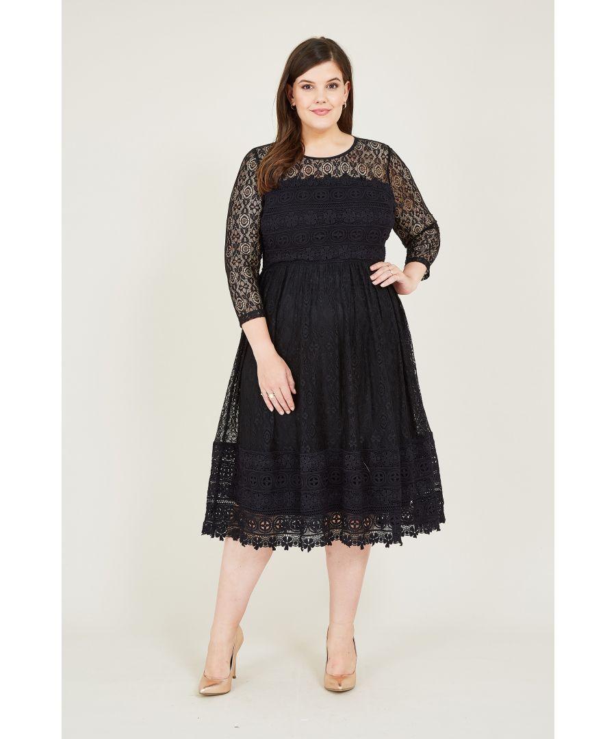 Image for Yumi Curve Black Lace Skater Dress