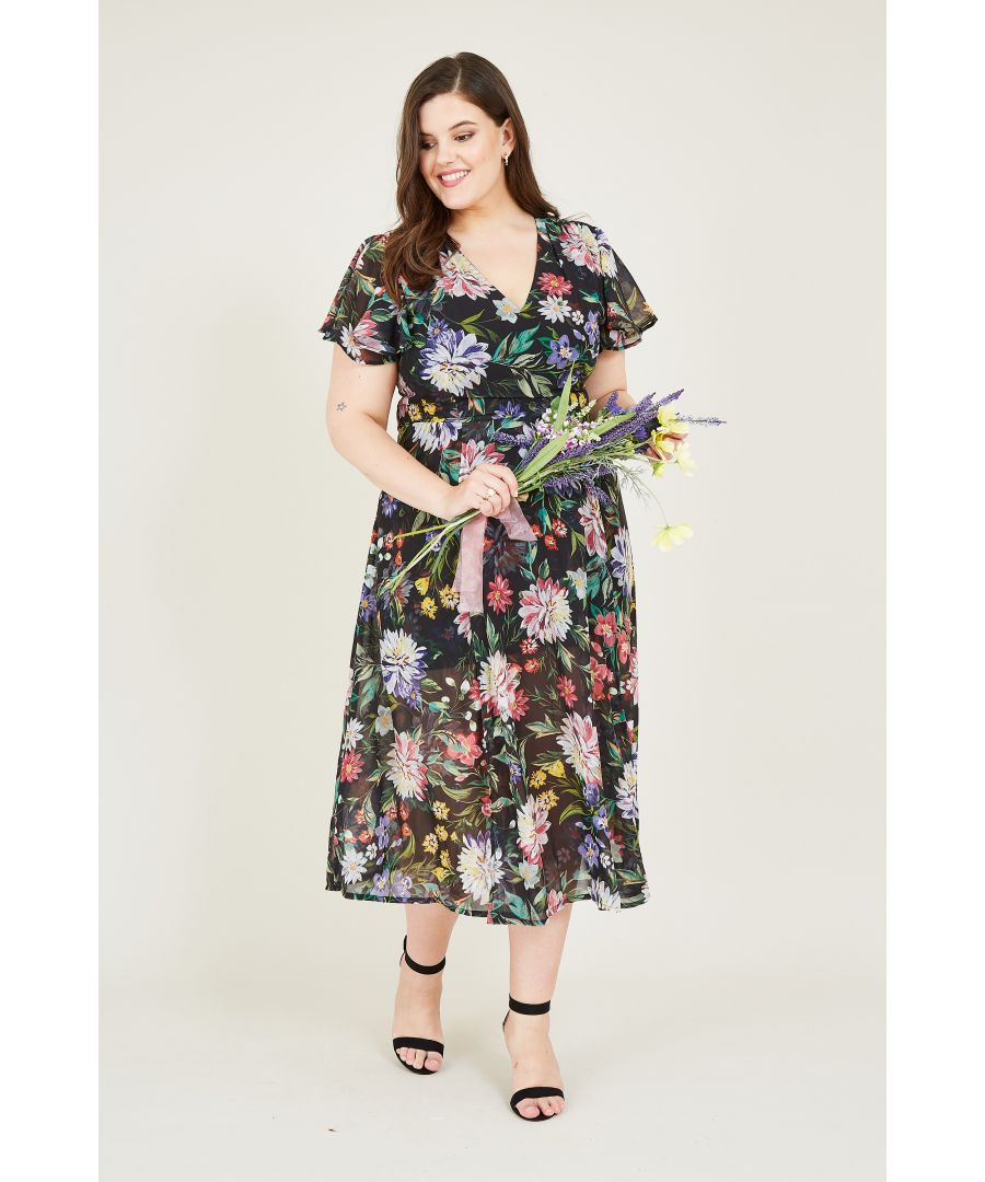 Image for Chrysanthemum Floral Print Midi Dress