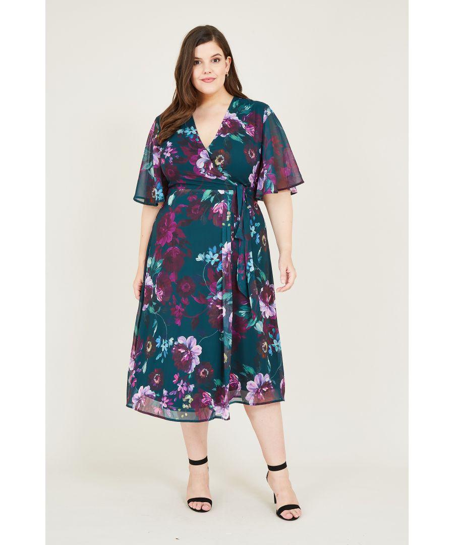 Image for Yumi Curve Green Rose Print Wrap Midi Dress