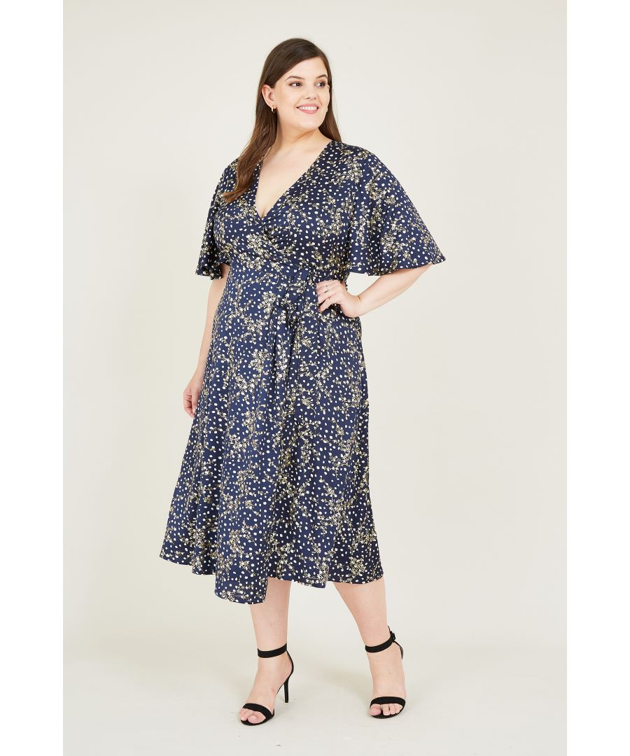 Image for Yumi Curve  Navy Printed Foil Floral Wrap Midi Dress