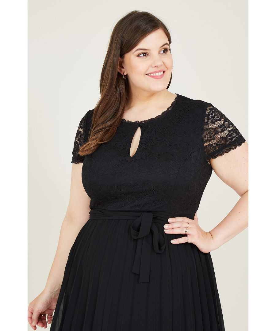 Image for Yumi Curves  Black Lace Bodice Skater Dress With Ple
