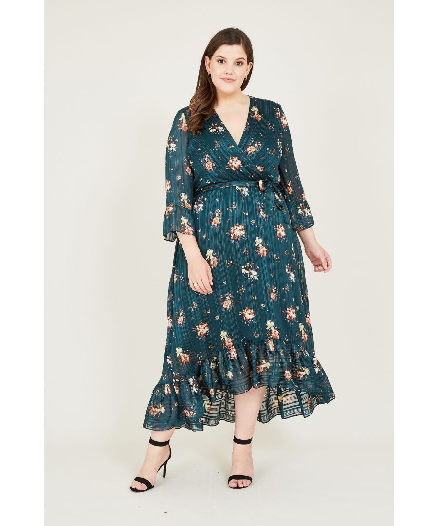 Image for Green Lurex Floral Midi Dress With Dippe