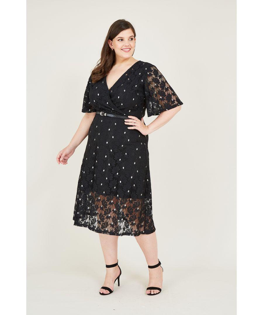 Image for Yumi Curves Black Foil Lace Skater Dress With Belt