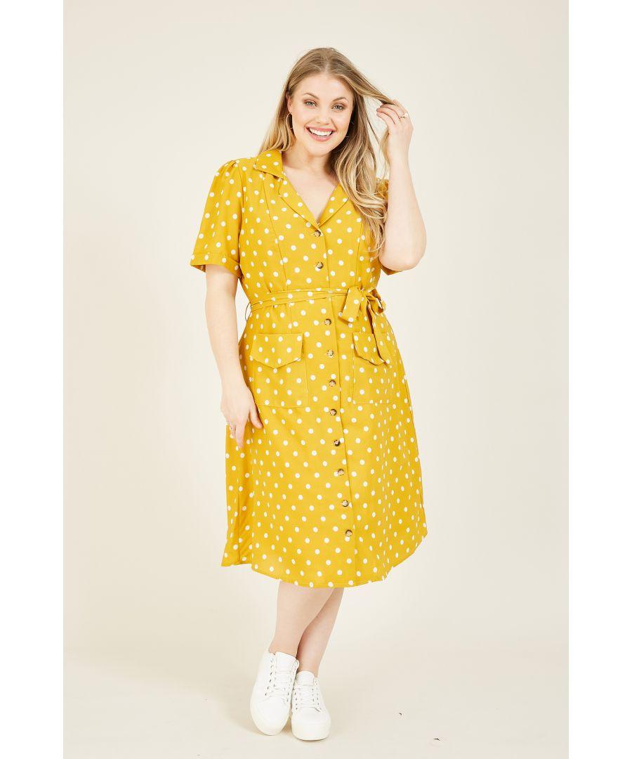 Image for YUMI CURVES Mustard Retro Shirt Dress