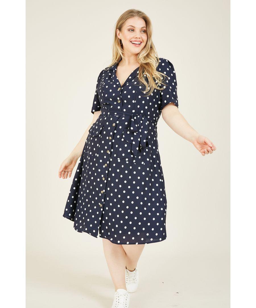 Image for Yumi Curves Navy Retro Shirt Dress