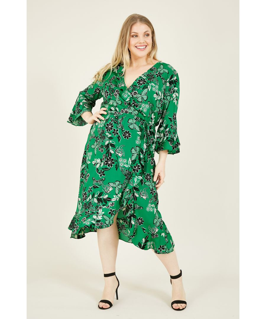 Image for Yumi Curves Green Butterfly Print Wrap Dress With Frill