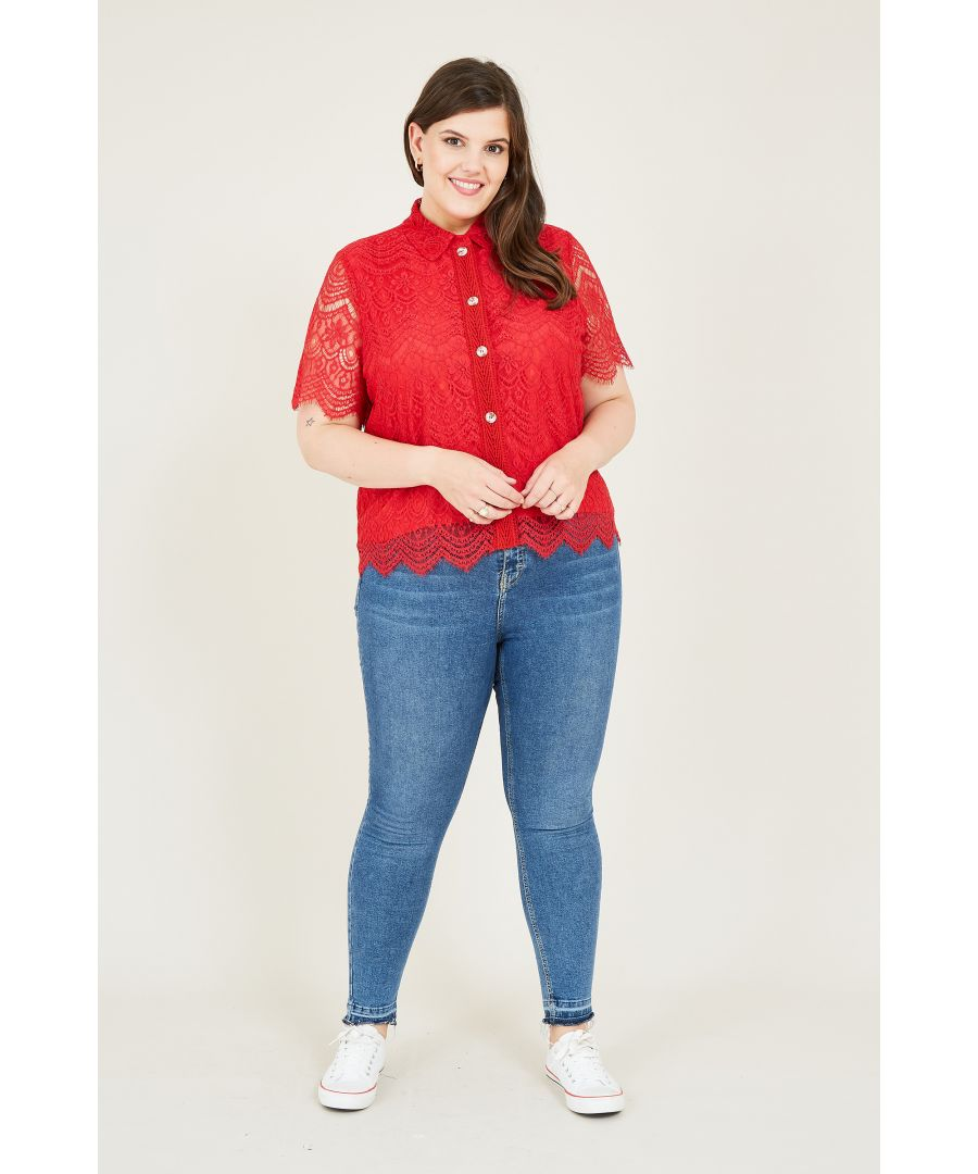 Image for Yumi Curve Red Lace Shirt