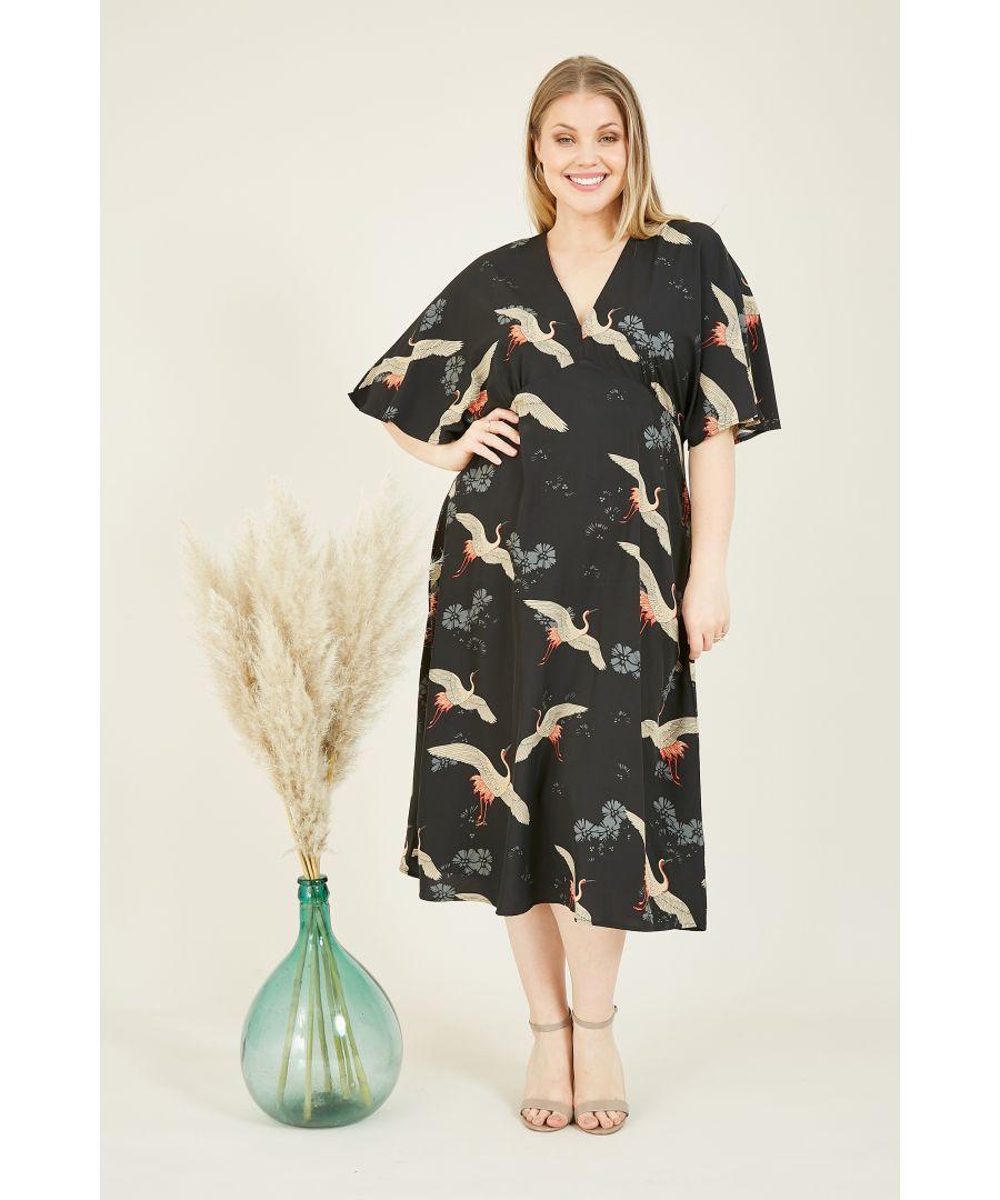 Image for Yumi Curves Black Crane Print Kimono Midi Dress