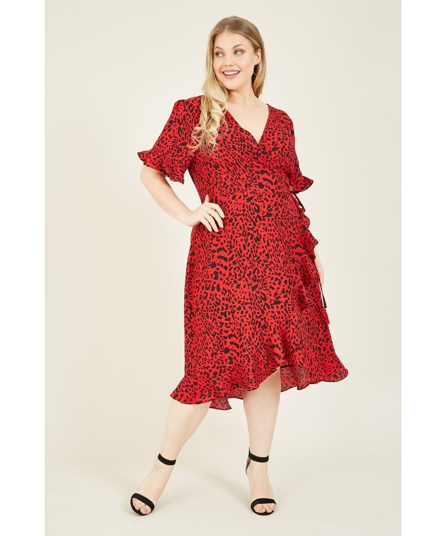 Image for Yumi Curves Red Animal Print Frill Wrap Dress