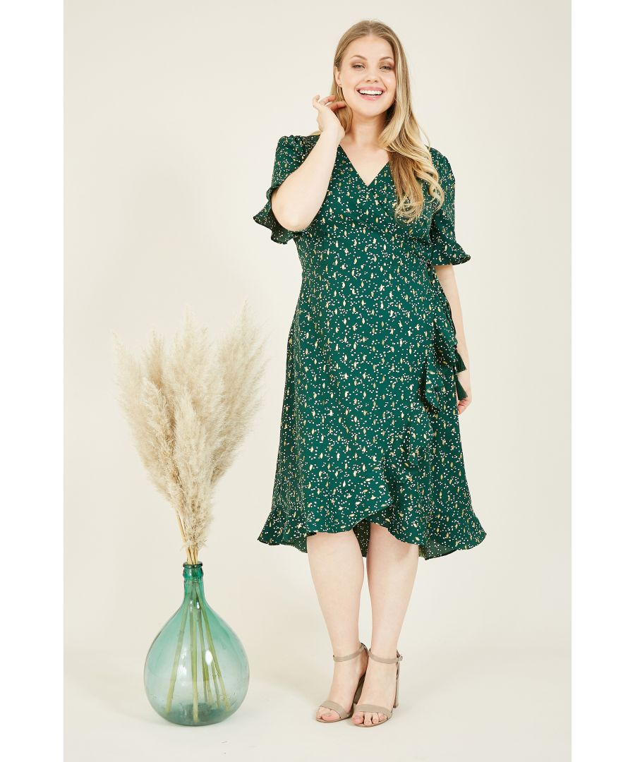 Image for Yumi Curves Green Foil Print Wrap Frill Dress