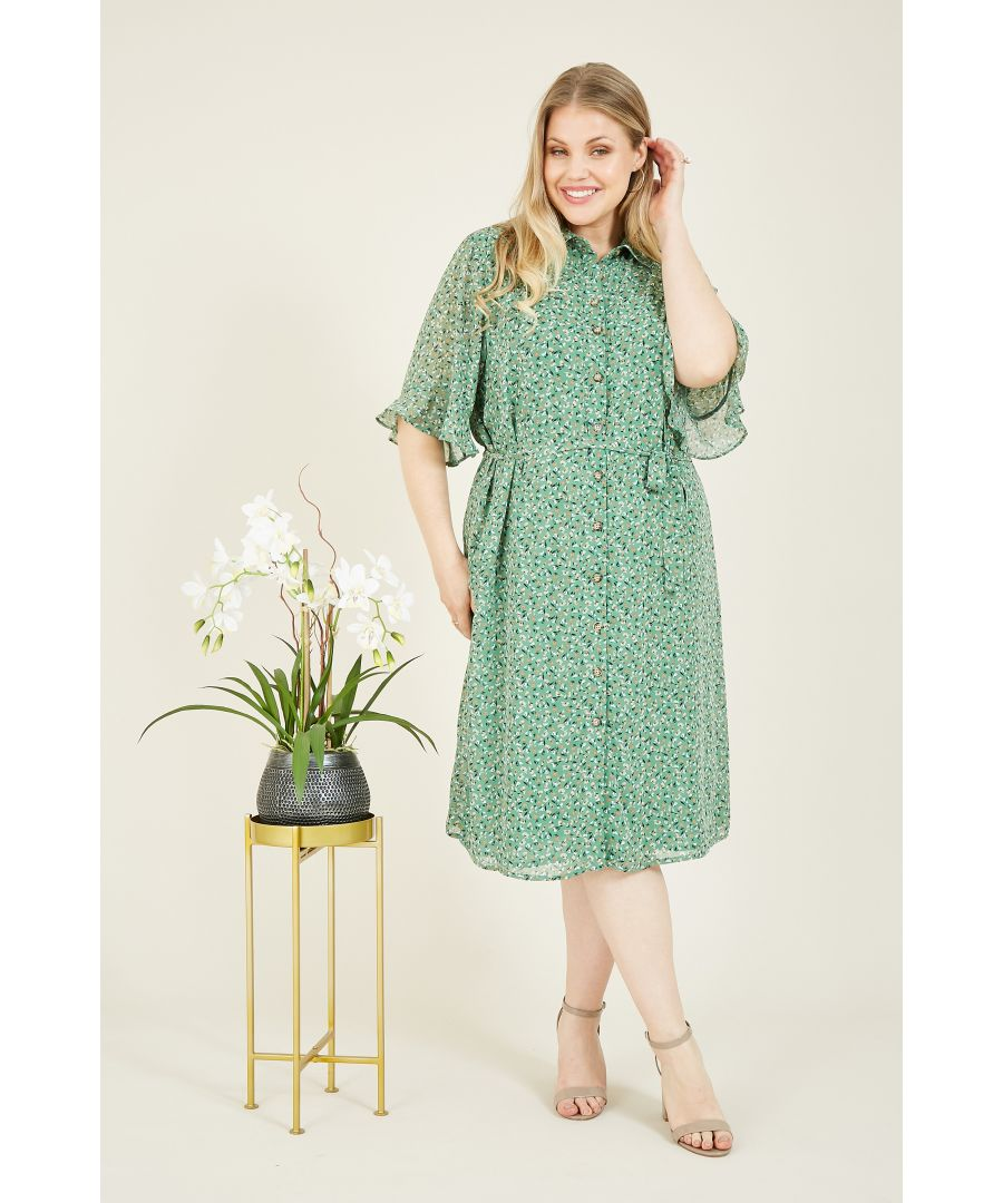 Image for YUMI CURVES Green Ditsy Print Frill Sleeve Shirt Dre