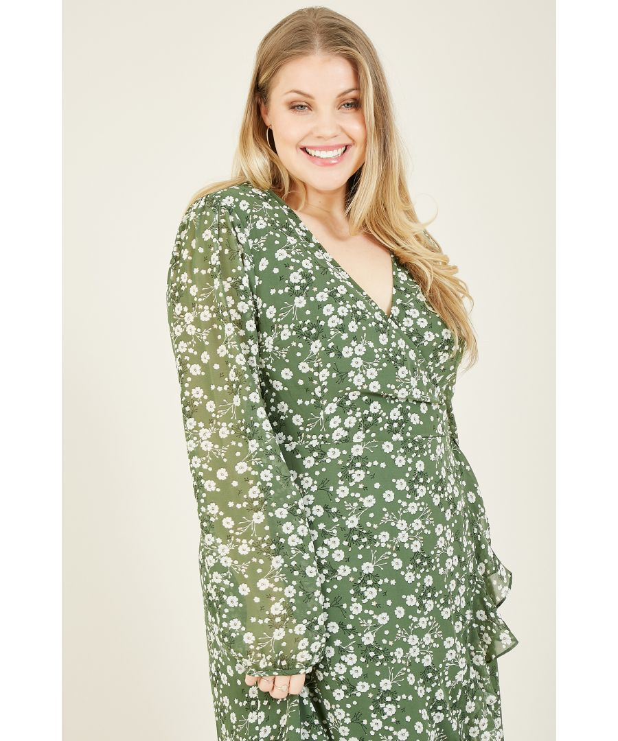 Image for Yumi Curves Green Ditsy Print Long Sleeve Frill Wrap