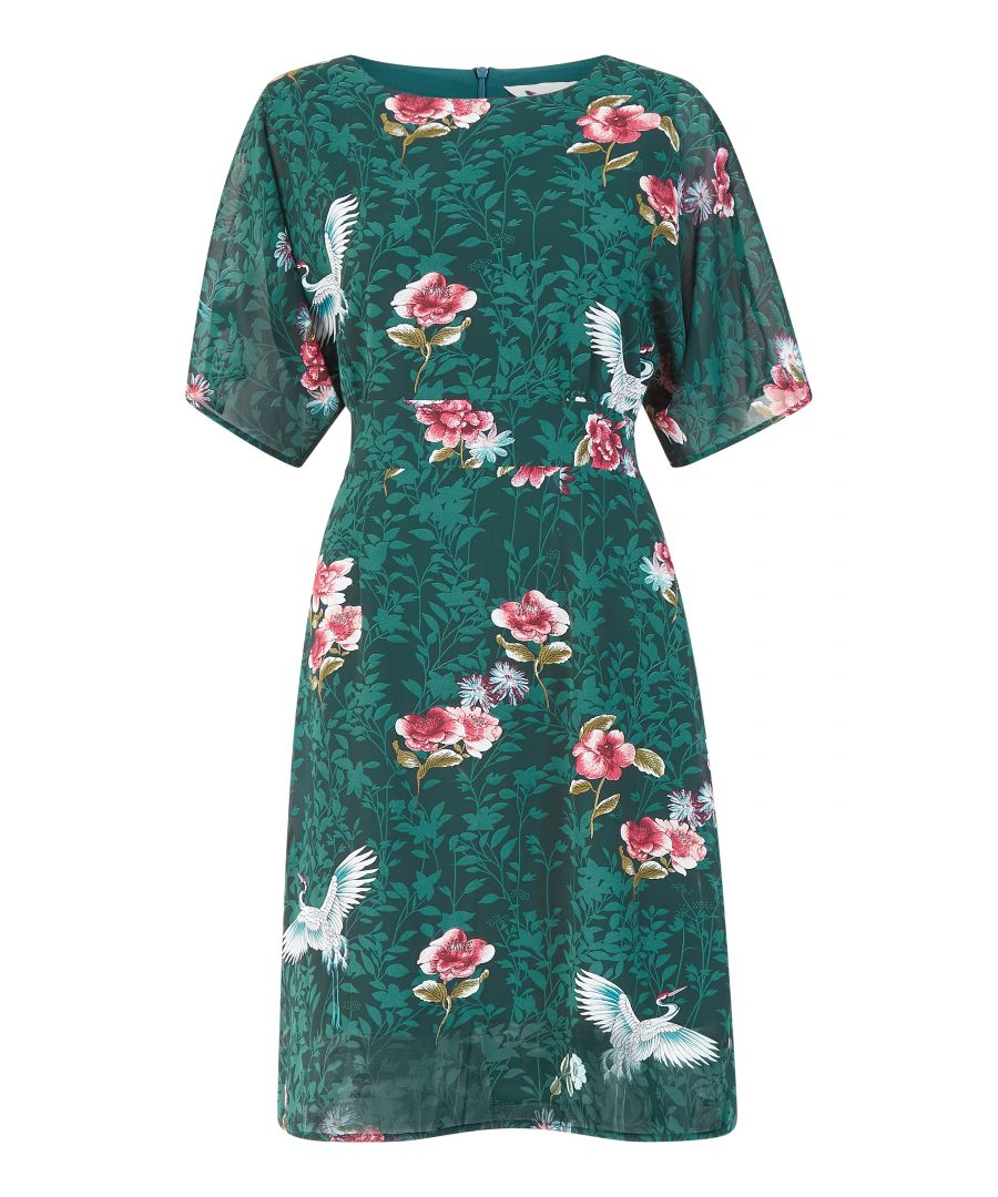 Image for Yumi Curves Green Crane Print Kimono Sleeve Dress