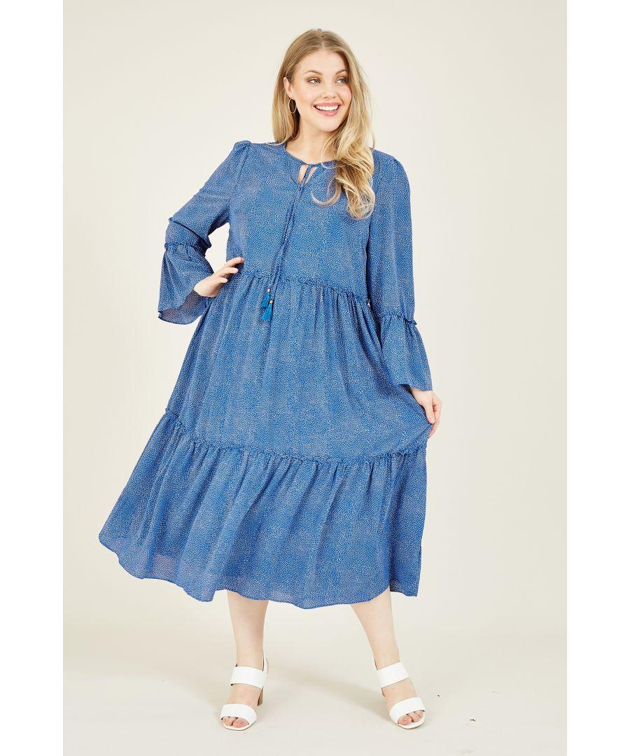 Image for Yumi Curves Blue Spot Boho Smocked Dress With Tassel