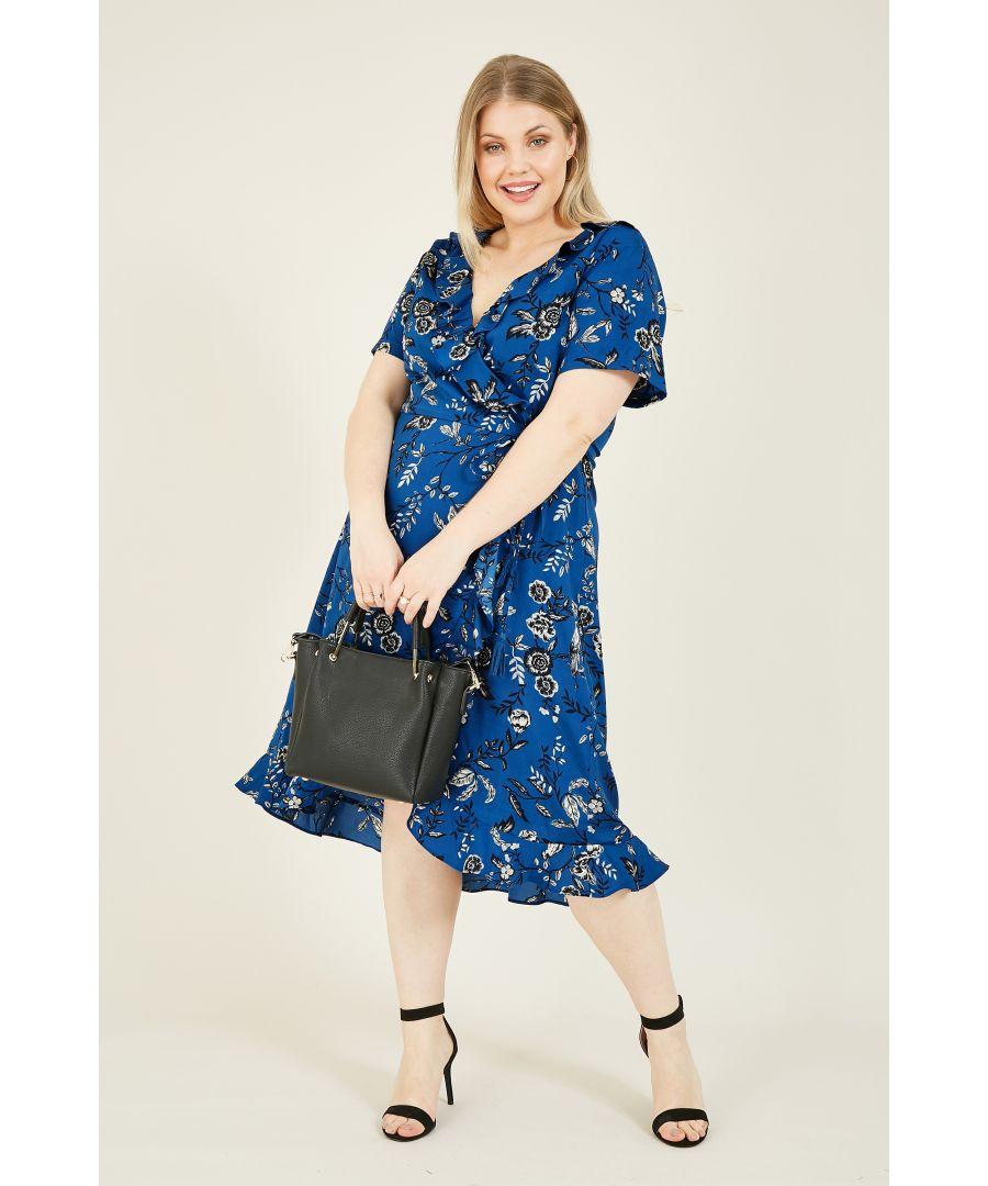 Image for Yumi Curves Blue Bird Print Wrap Frill Dress