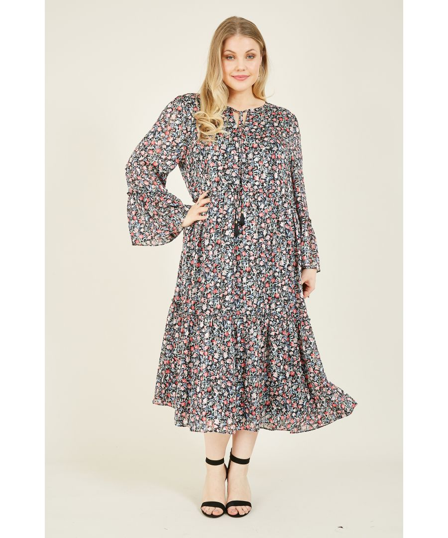 Image for YUMI CURVES Ditsy Print Wrap Over Tie Detail Dress