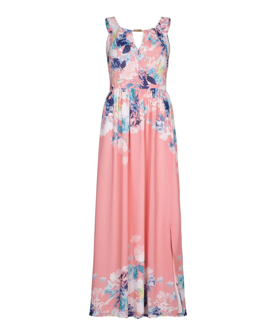 Image for CORAL WATERCOLOUR FLORAL MAXI DRESS