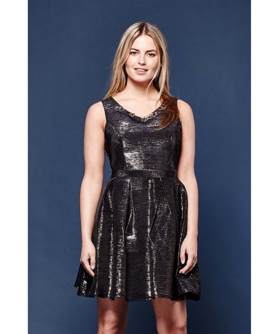 Image for EMBELLISHED METALLIC SLUB PARTY DRESS