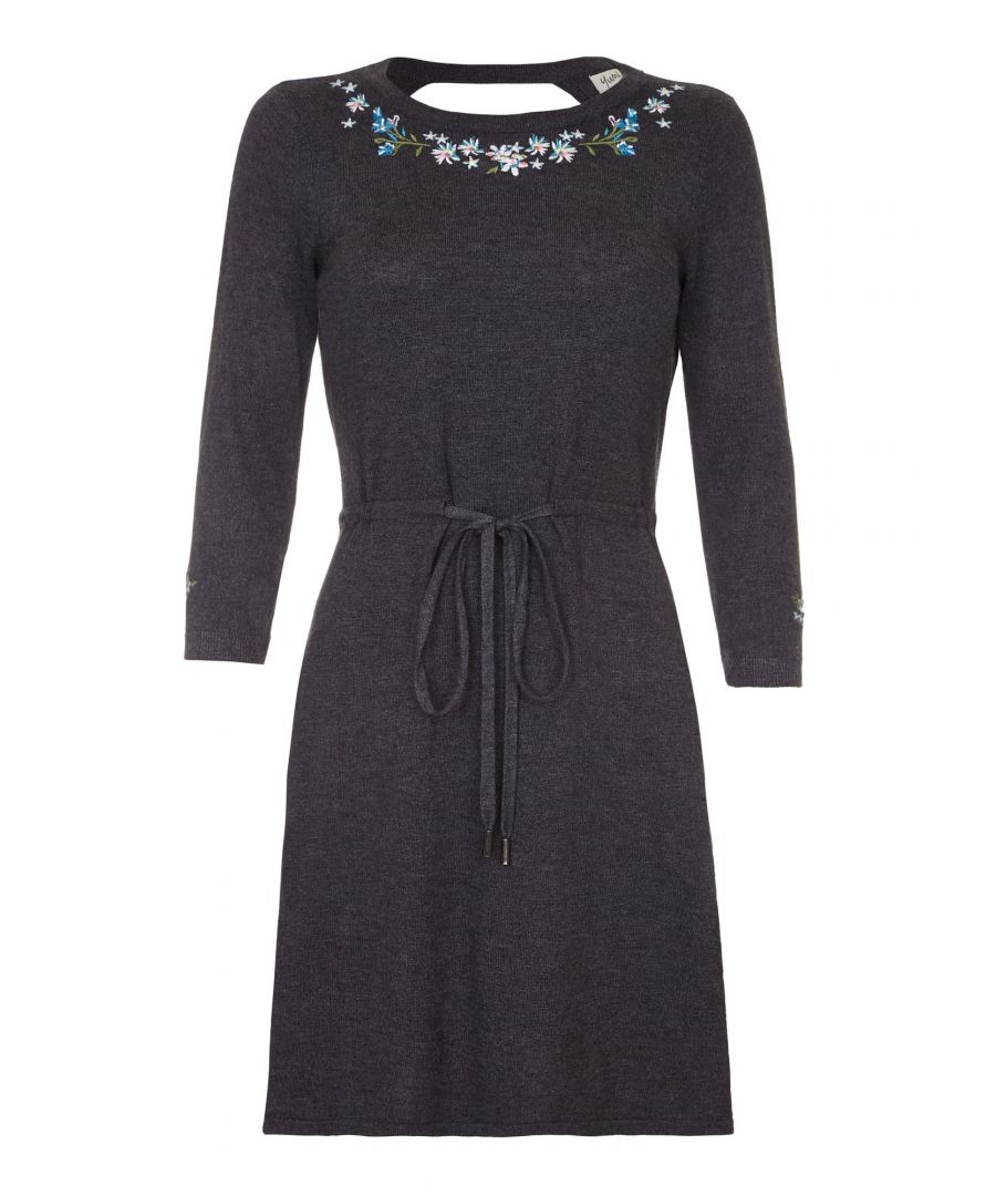 Image for EMBROIDERED TIE WAISTED KNIT DRESS