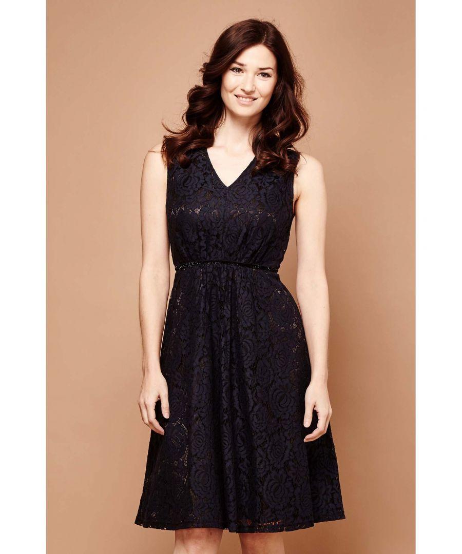 Image for TWO TONE LACE MIDI DRESS