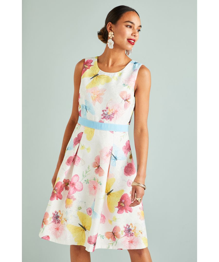 Image for Pressed Butterfly Print Jacquard Dress