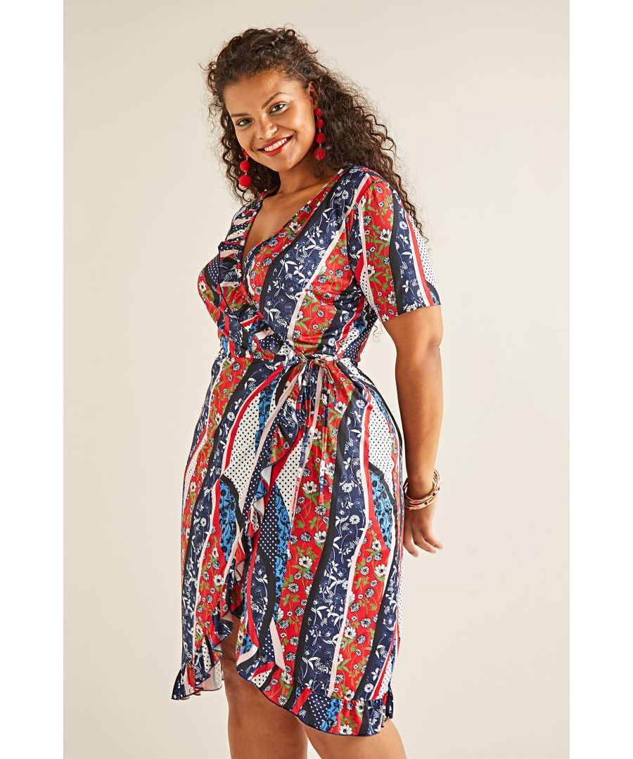 Image for Spanish Floral Splice Jersey Dress