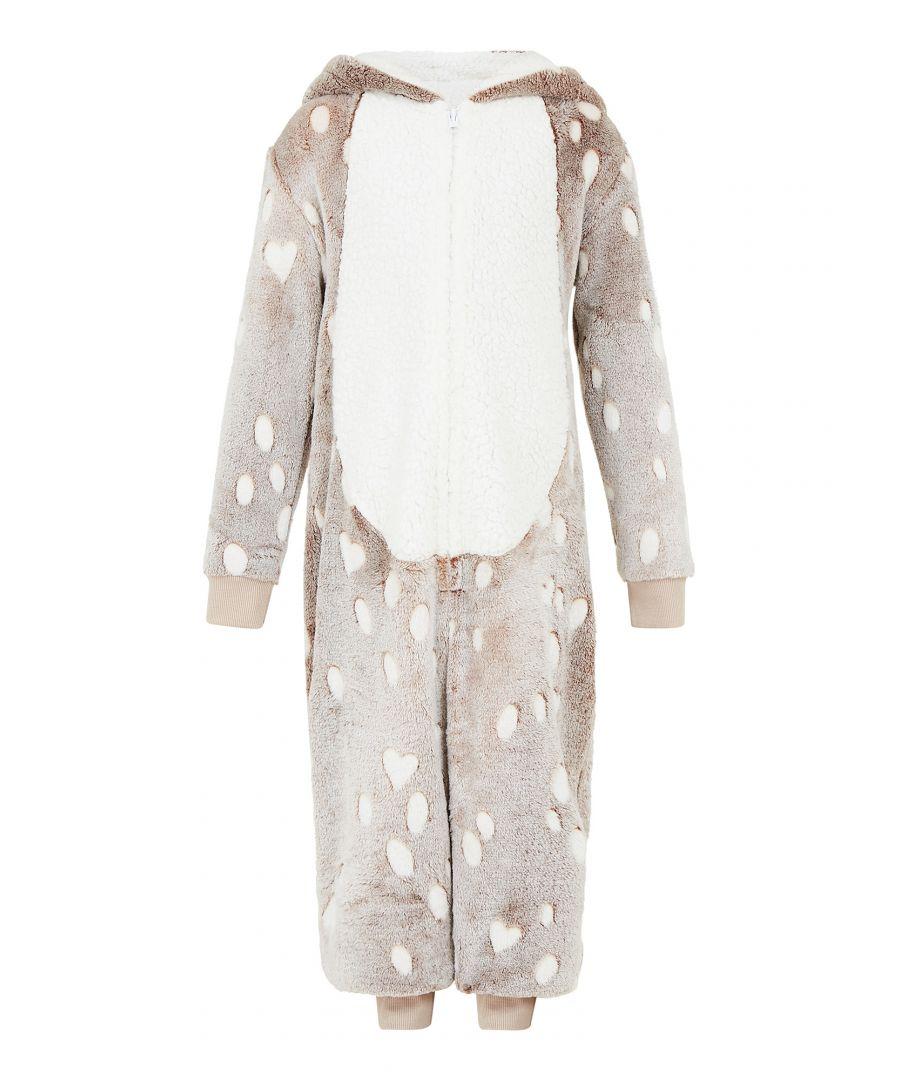 Image for Yumi Girls Reindeer Luxury Flannel Fleece Hooded Ro