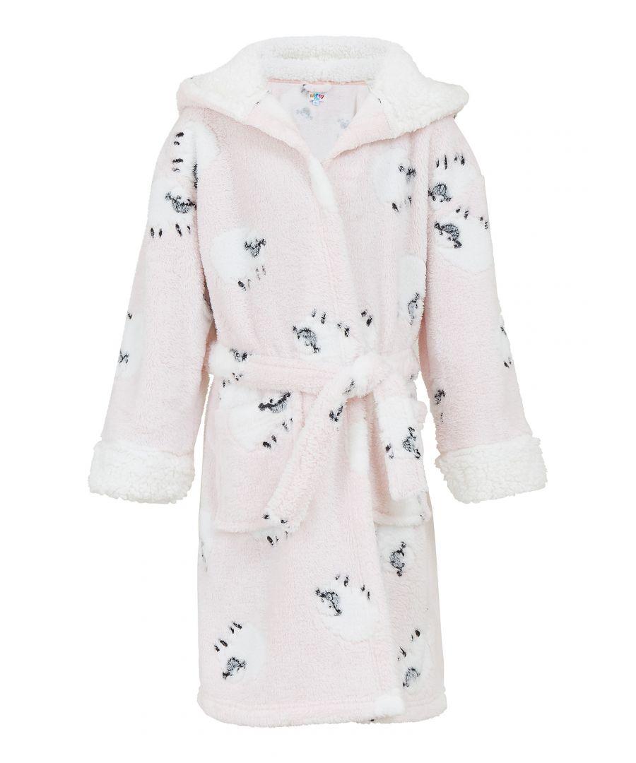 Image for Yumi Girls Pink Sheep Flannel Fleece Hooded Robe