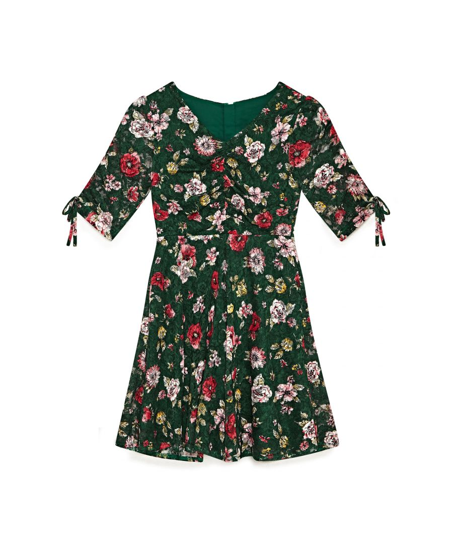 Image for Winter Blossom Ruched Tea Dress