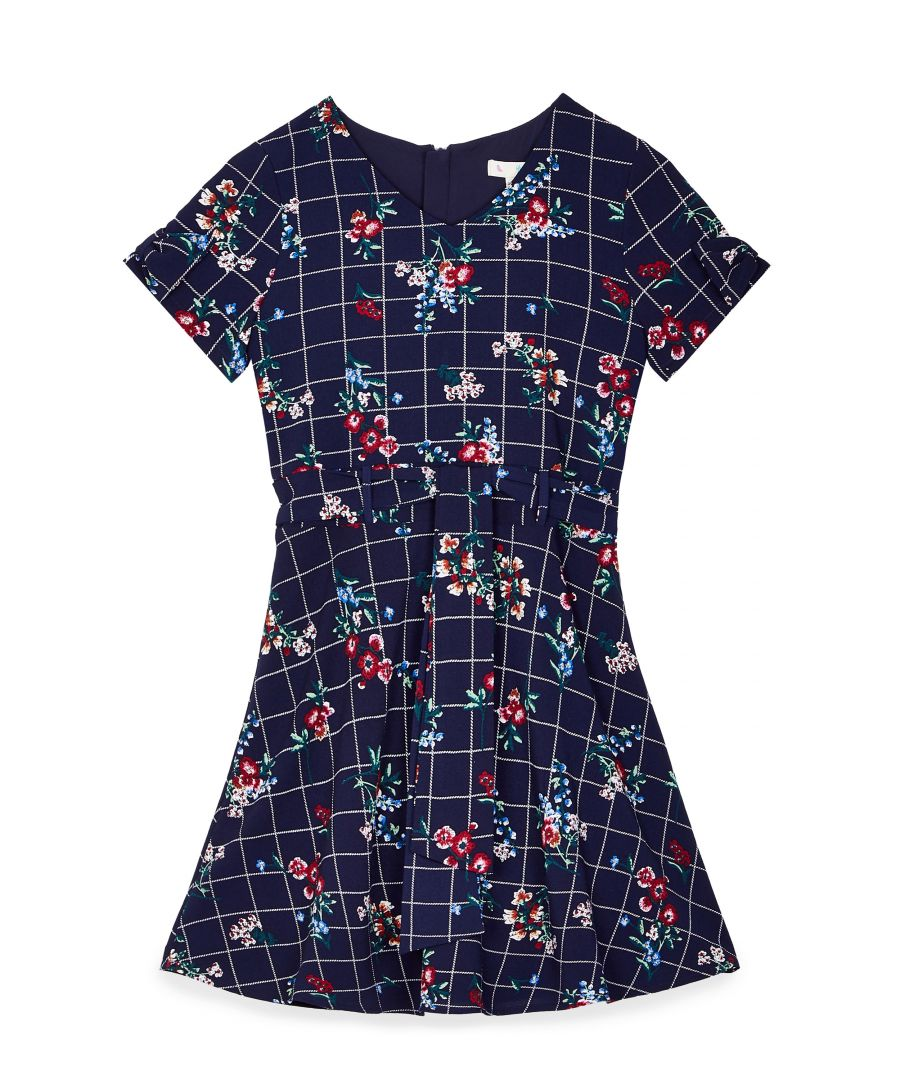 Image for Check Floral Tie Sleeve Dress