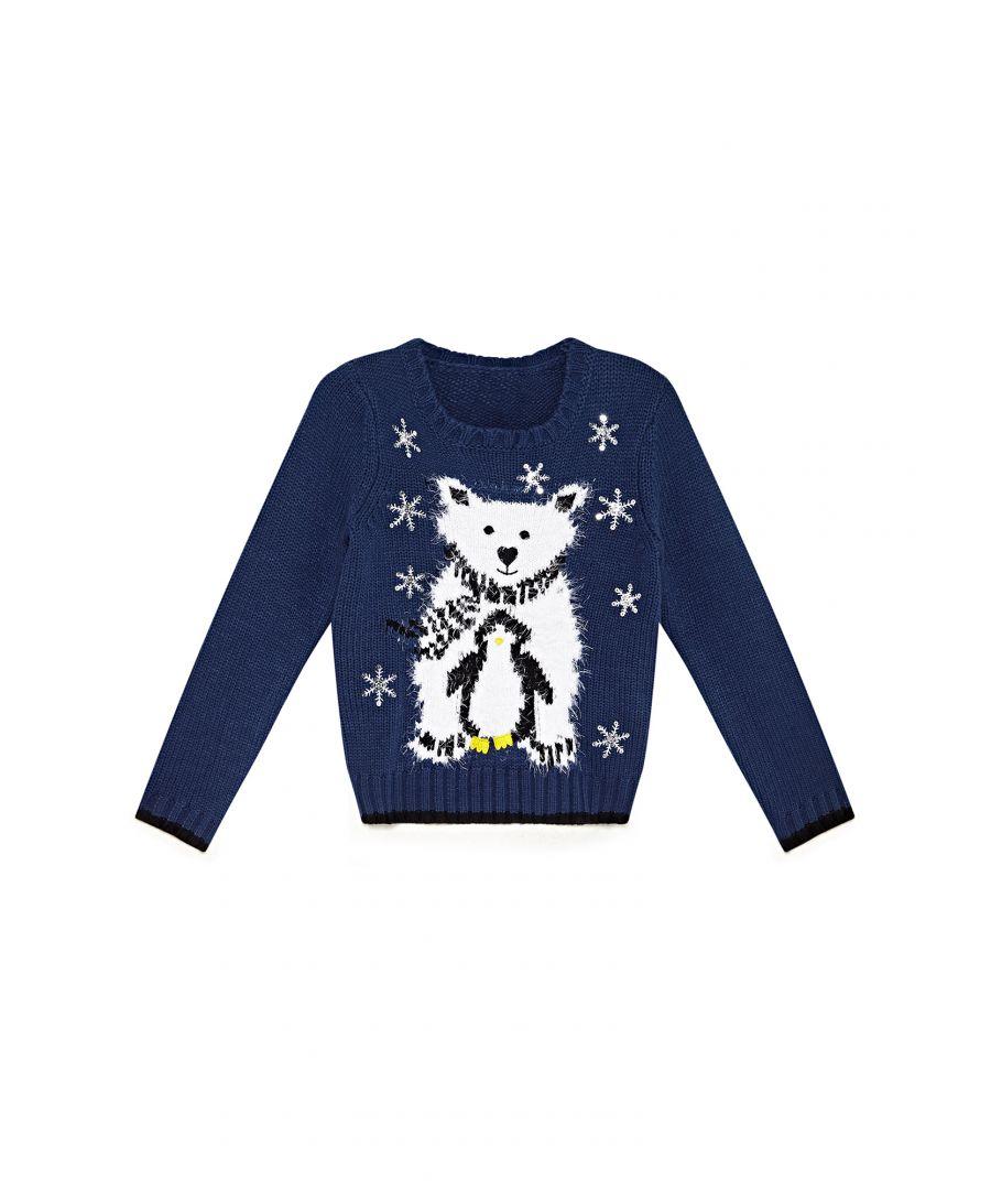 Image for Yumi Girls Polar Bear Penguin Jumper