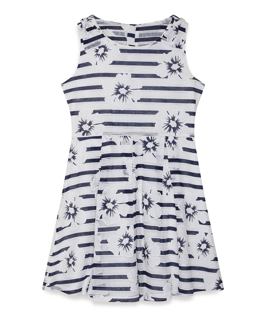 Image for Nautical Flower And Stripe Lace Dress