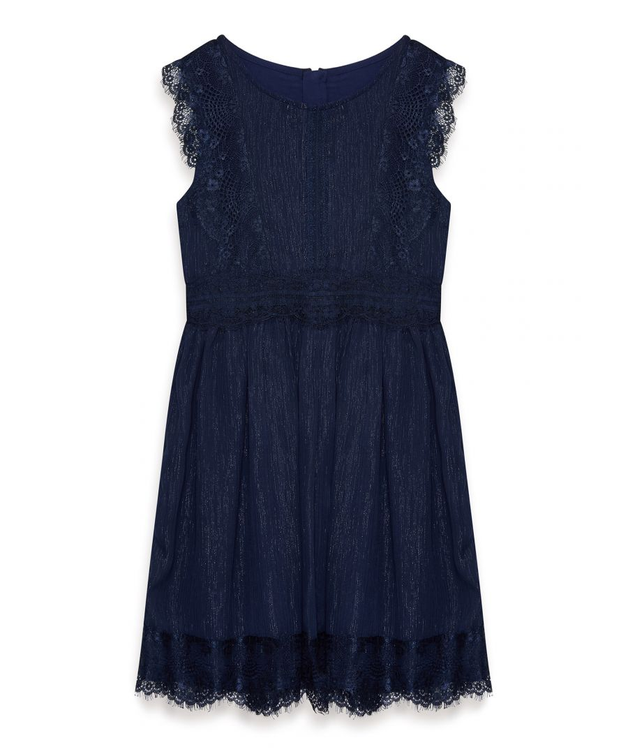 Image for Metallic Chiffon Dress With Lace Detail