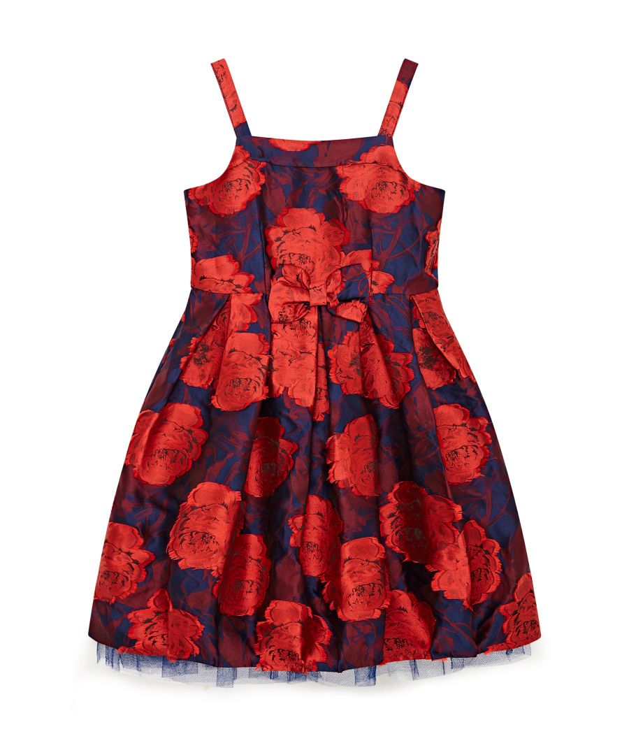 Image for Flower Jacquard Party Dress with Bow Det