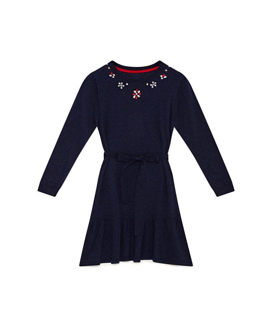 Image for Embellished Neck Peplum Hem Dress