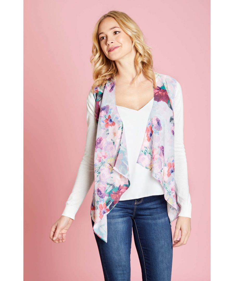 Image for WOVEN FRONT WATERFALL CARDIGAN