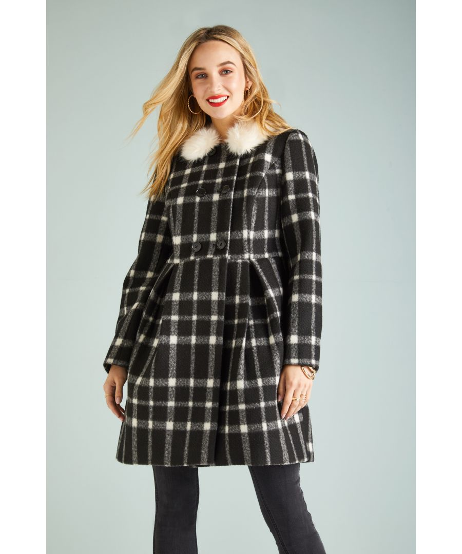 Image for Fur Collar Check Button Coat