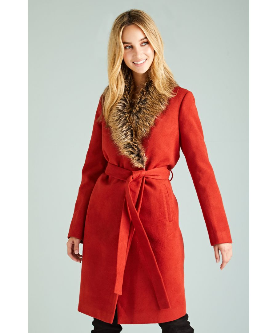 Image for Fur Collar Wrap Coat