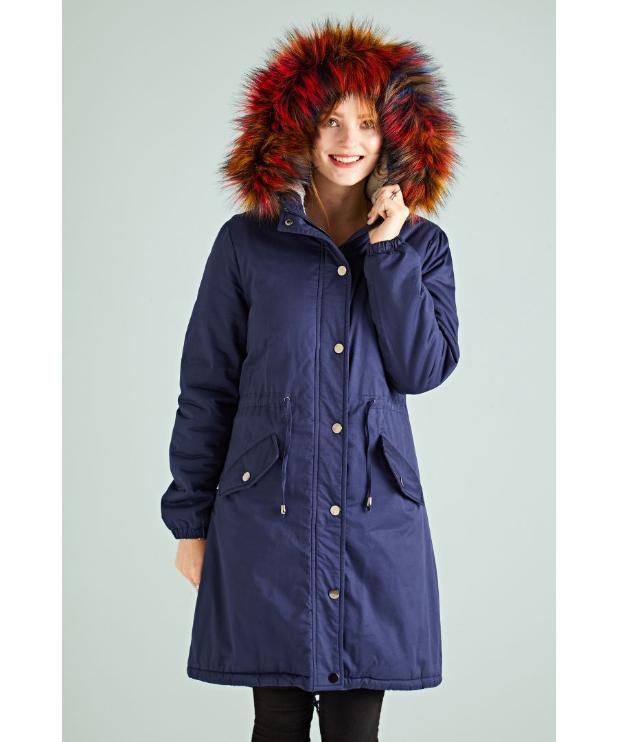 Image for Rainbow Fur Frim Hood Parka Coat