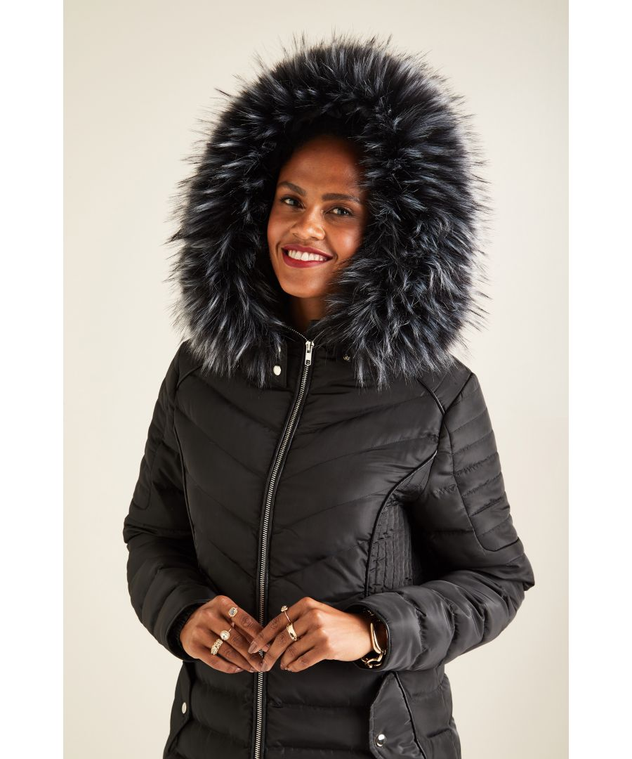 Image for Quilted Jacket With Fur Trim Hood